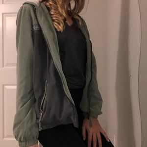 Army green and gray hooded jacket
